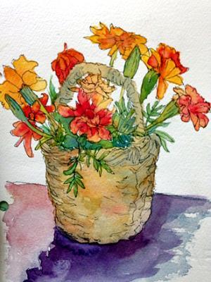 Basket Full of Marigolds