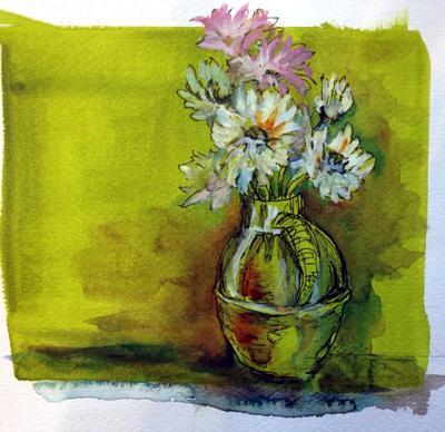 Dasies in a Green Vase
